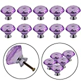 purple crystal drawer pulls - YUYIKES 40mm Diamond Shape Crystal Glass Cabinet Knobs Purple 12 Pack for Drawer Chest Bin Dresser Cupboard
