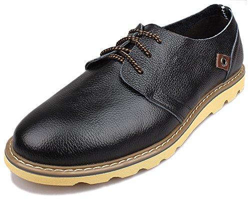 Kunsto Men's Top Grain Leather Oxford Flats Shoes Lace up US Size 10.5 Black