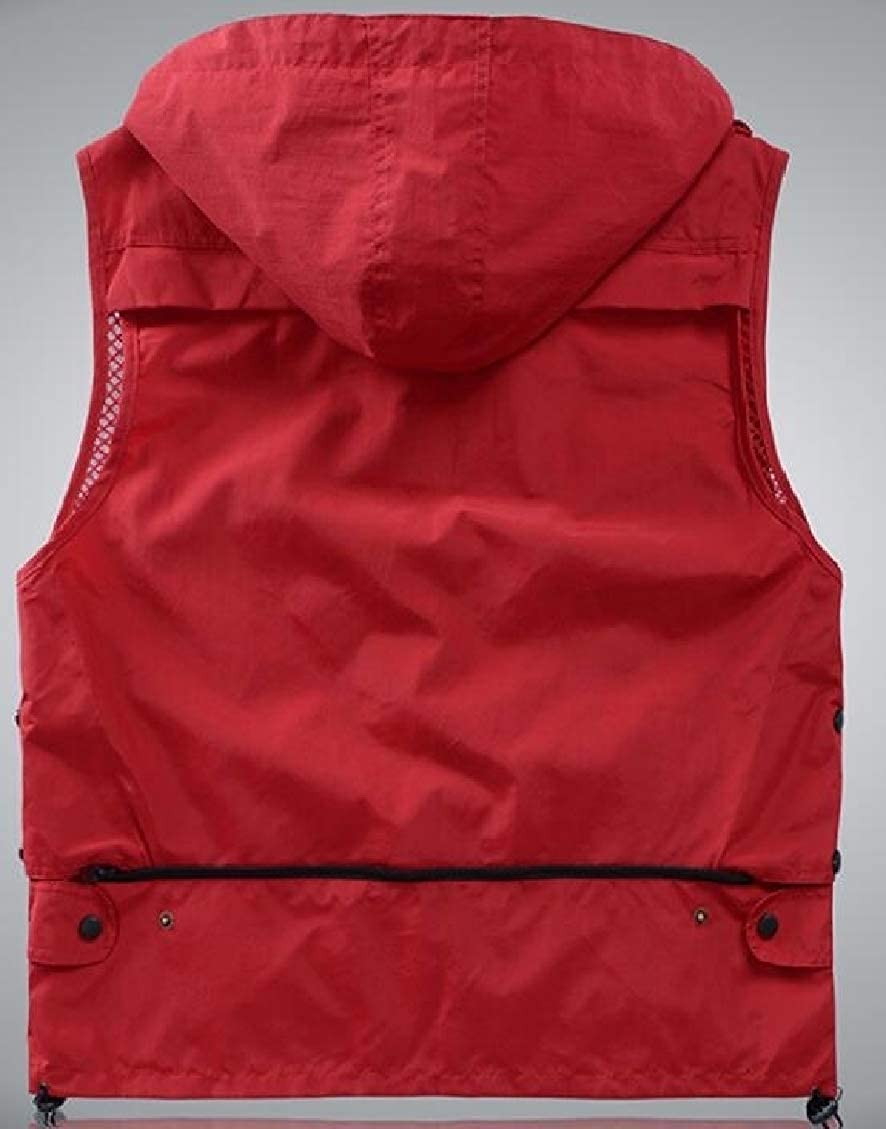 Spirio Men Plain Quick-drying Zip-Up Casual Hooded Mesh Tank Top Vest Multi Pockets