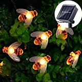 Umiwe Solar String Lights - Outdoor Waterproof 19.7ft 30 LEDs Bee Shaped Fairy Lights - Bright Flash Fairy Light Garden Party Decoration Lighting