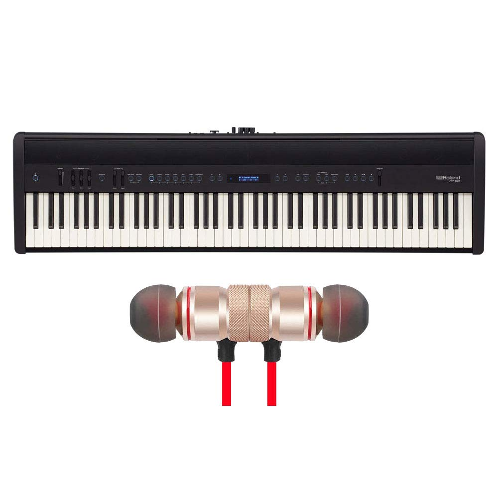Roland FP-60-BK 88-Key Digital Piano Black Includes Free Wireless Earbuds - Stereo Bluetooth In-ear Earphones by Roland