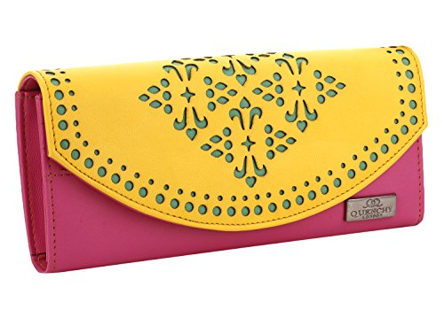 K London Stylish Women's Clutch Purse Women Wallet (Yellow,Pink,Green) (1602_Yellow)
