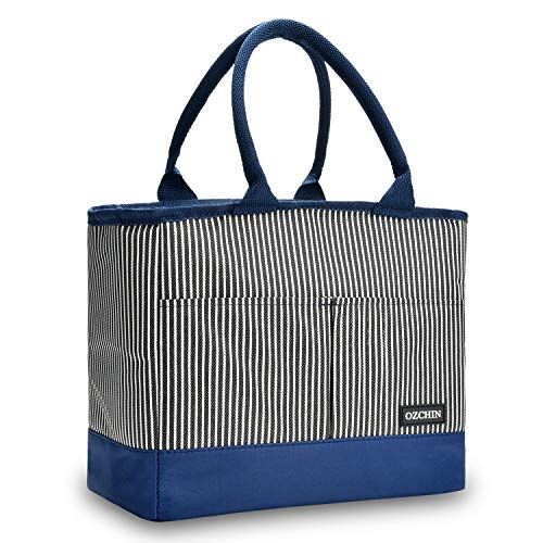 Insulated Lunch Bags For Women Fashionable Reusable Lunch Tote Cooler Bag Handbag For Picnic Work Great Teacher Appreciation Gifts OZCHIN (Vertical Stripe) (Handbag Picnic)