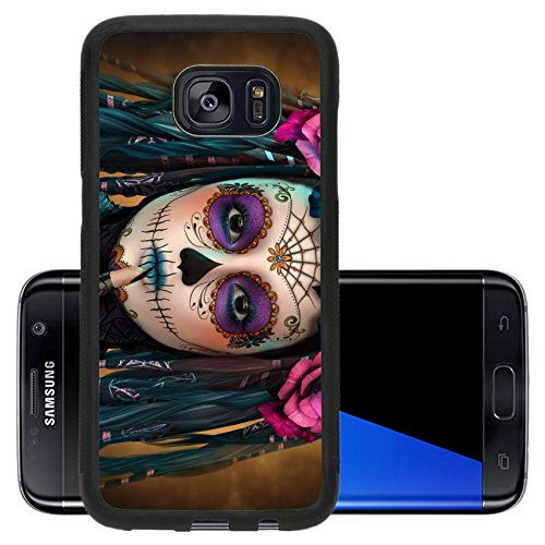 Luxlady Premium Samsung Galaxy S7 Edge Aluminum Backplate Bumper Snap Case IMAGE ID: 44522015 3d computer graphics of a young woman with sugar skull -