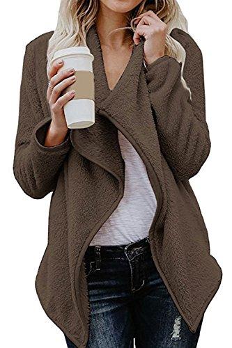 LEO BON Womens Open Front Winter Coats Cardigan Sherpa Jacket Reversible Fluffy Outwear