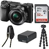 Sony Alpha a6000 (ILCE6000L/B) Mirrorless Camera w/ 16-50mm Lens w/ BlackRapid Street Breathe Single Strap, Sandisk 32GB SD Card & Flexible Tripod Bundle