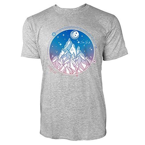 SINUS ART ® Handgemaltes Gebirge bei Nacht Herren T-Shirts in hellgrau Fun Shirt mit tollen Aufdruck
