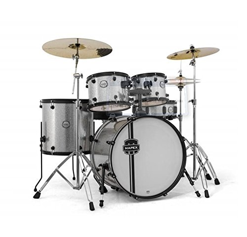 mapex-vr5295tbckzz-voyager-rock-5-piece-drum-set-with-cymbals-crystal-sparkle