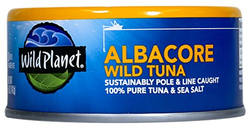 Wild Planet Wild Albacore Tuna with Sea Salt, 100% Pole & Line Caught, 5 oz Can (Pack of 12) - Sea Albacore