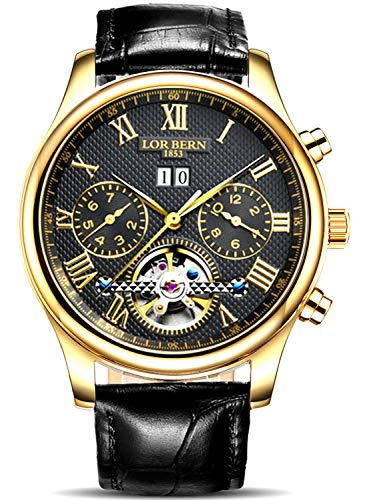 Swiss Brands Men's Automatic Self-Wind Watch Stainless Steel with Brown Genuine Leather Band (IBV-60036-Black - Gold Swiss Plated Watch