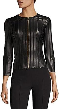 SID Womens Classic Police Type Lambskin Leather Jacket Biker Jacket