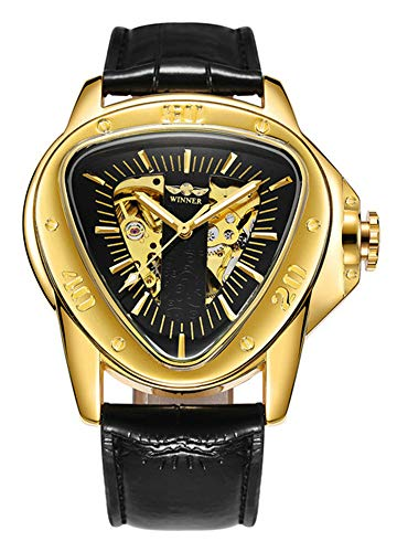 (Mechanical Watch Special Fashion Triangle Racing Design Golden Skeleton Dial Wristwatch)