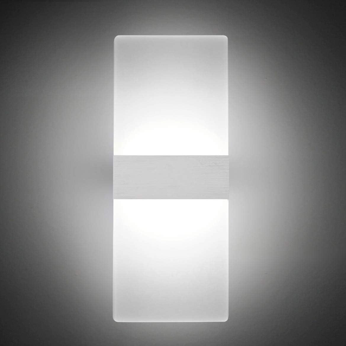 Lámpara de pared Interior 12W Moderna Apliques de Pared Blanco Frio,6000K Moda Agradable Luz de Ambiente perfecto para Lámpara de Decoración