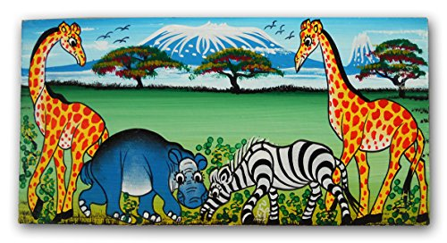 African Handmade Tingatinga Sign Plaque, Name Board, Hand Painted Plate, Blank for Your own Lettering - Hand Painted Name Plaque