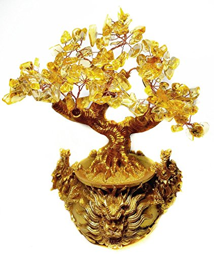Fathers Day Gift Golden Money Tree with Chinese Dragon Pots for Wealth Feng Shui Citrine