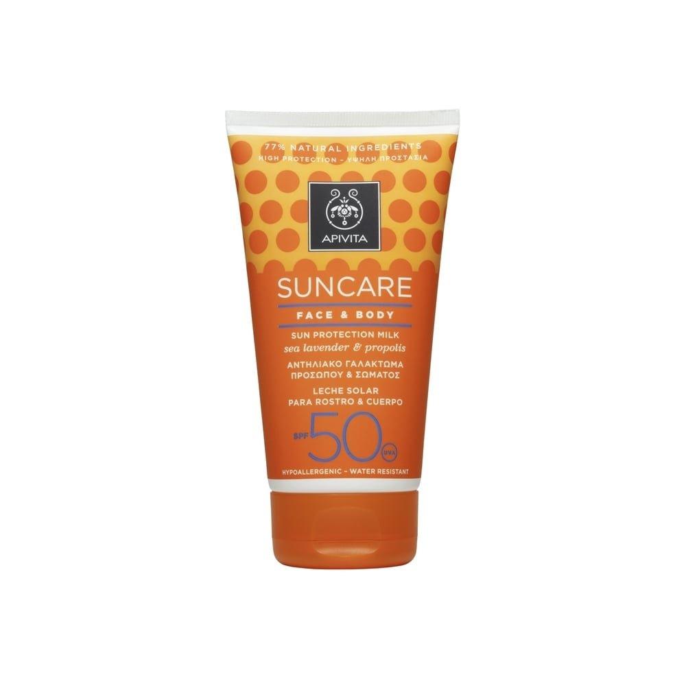 2 Χ Apivita Sunscreen Face and Body Milk SPF50 with Sea Lavender & Propolis - 2 Tubes X 150ml/5.1oz each one