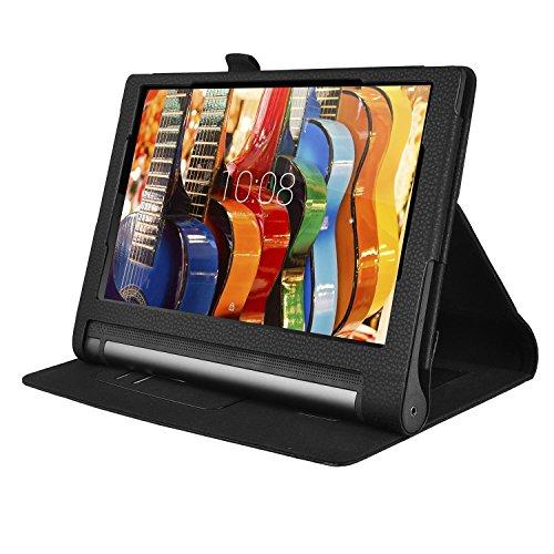Lenovo YOGA Tab 3 10.1-Inch Funda Cover - IVSO Slim-Book Case Funda Protectora de Cuero PU para Lenovo YOGA Tab 3 10.1-Inch Tablet (Negro)