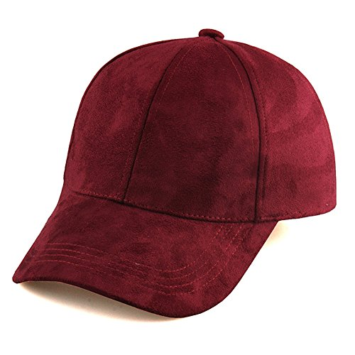 ther Suede Hat Baseball Cap (Wine Red) (Suede Leather Baseball)