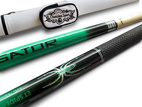 Champion Pool Cues - Champion Spider Green Billiards Maple Pool Cue Stick 19 oz, White Pool Cue Case, Champion Glove