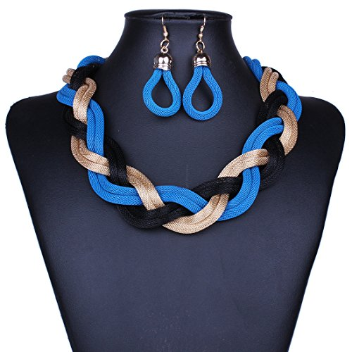 Atlanta Costumes Rental (SDLM Fashion Bright Knit Rope Chunky Choker Charm Necklace dangle Earrings Jewelry Set(blue))