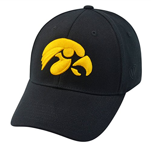 Top of the World NCAA Iowa Hawkeyes Memory Fit Wool Blend Hat, One Size, Black