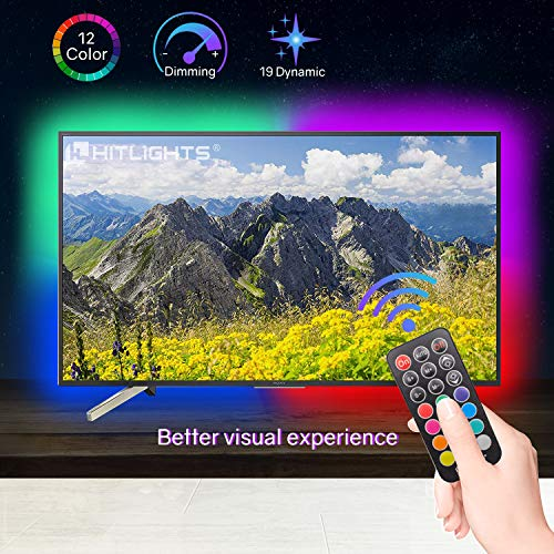HitLights LED Strip Lights, 6.56ft RGB LED Strip for 40-60 TV, PC Backlights Color Changing 5050 Zigzag Wave LED Strips Kit with RF Remote, Connector, Bias Lighting Improve Viewing Effects