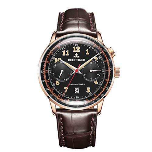 ساعت مچی مردانه ریف تایگر مدل RGA9122-PBSO با بند چرمی