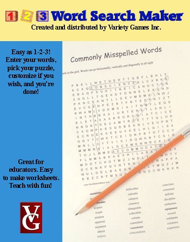 1-2-3 Word Search Maker, Word Search Maker Software for Windows -- Educational Price (Operation Search)