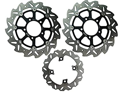 GZYF Front & Rear Brake Disc Rotors For Kawasaki ZX6R 636 2005-2011 & ZX10R  2004-2007 Black