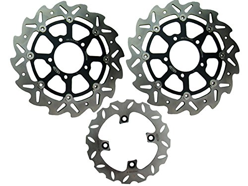 ake Disc Rotors For Kawasaki ZX6R 636 2005-2011 & ZX10R 2004-2007 Black ()