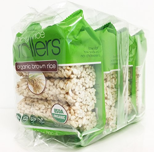 Rice Cake Brown (Bamboo Lane Crunchy Rice Rollers - Organic Brown Rice, 3.5oz (4 Packs of 8 Rollers))
