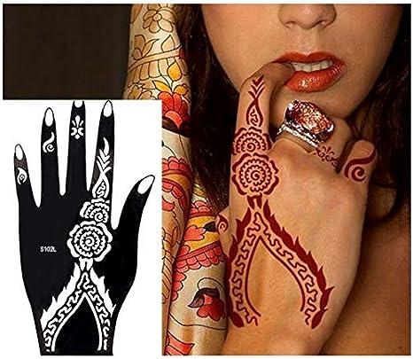 Henna - Plantilla para tatuar, diseño de mano izquierda: Amazon.es ...