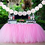 AerWo 1 Tutu Table Skirt + 1 HAPPY WEDDING Banner, Pink Queen Snowflake Tulle Tutu Table Skirt Princess Wedding Decor, Wedding Paper Flags HAPPY WEDDING Outdoor Wedding Party Decoration