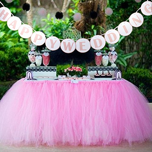 AerWo 1 Tutu Table Skirt + 1 HAPPY WEDDING Banner, Pink Queen Snowflake Tulle Tutu Table Skirt Princess Wedding Decor, Wedding Paper Flags HAPPY WEDDING Outdoor Wedding Party Decoration by AerWo