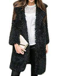 Womens Fuzzy Faux Lamb Fur Coat Long Jacket Notched Lapel Mid Long Coat