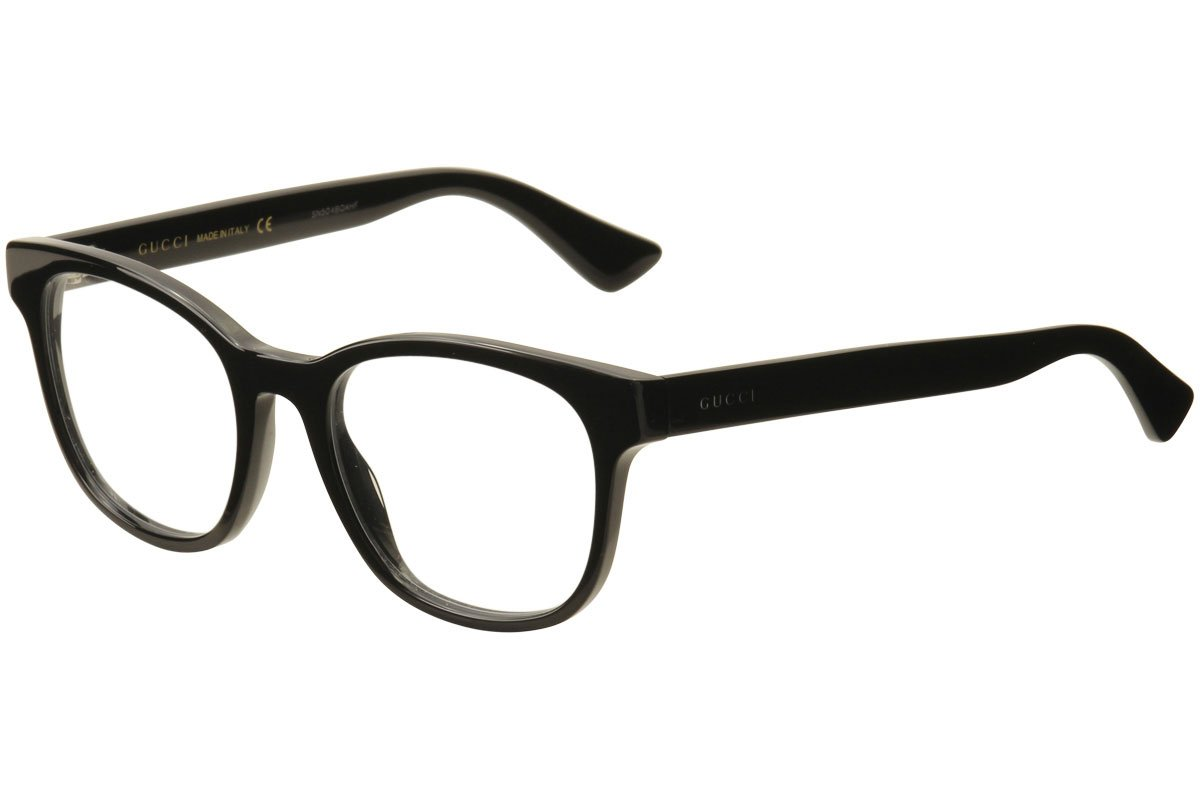 Amazon.com: Gucci GG 0005O 005 Black Plastic Square Eyeglasses 53mm ...