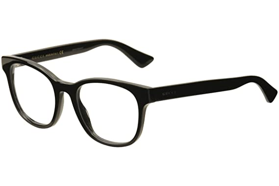 fb5ea967db14 Amazon.com: Gucci GG 0005O 005 Black Plastic Square Eyeglasses 53mm ...