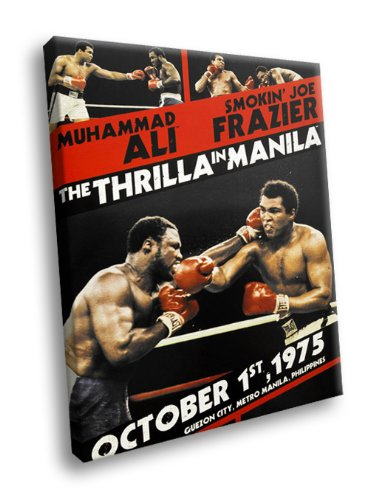 H5D6904 Thrilla in Manila Joe Frazier vs Muhammad Ali Sport 20x16 FRAMED CANVAS PRINT