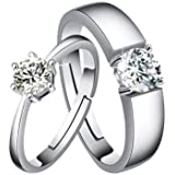 Sanvi CollectionWomen Mens Love Silver Crystal Couple Rings Lovers Wedding Promise Ring Set for Loved Ones, Gift for Valentines Day