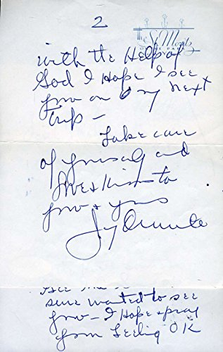 JIMMY DURANTE HAND SIGNED JSA COA 1961 LETTER AUTHENTICATED AUTOGRAPH