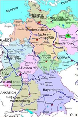 Regions Of Germany Map.A Map Of The Regions Of Germany In Color Journal Take Notes Write