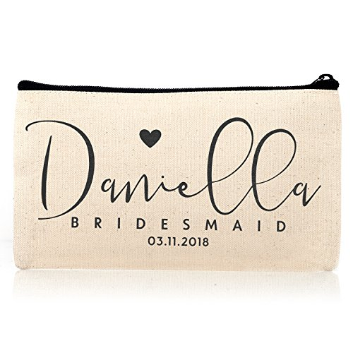 Personalized Cosmetic Bag Travel Makeup Pouch Wedding Bridal Party | DSG#10 | set of 6 by Sugar Yeti