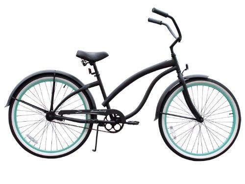 Firmstrong Bella Fashionista Single Speed Beach Cruiser Bicycle, 26-Inch, Matte Black/Green Rims