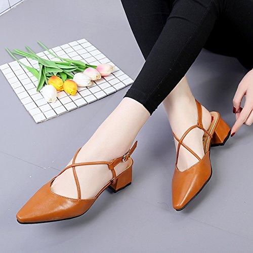 Zapatos Simple Las ITTXTTI brown Estudiante del de Manera de la Verano Joker del Sandalias Señoras Sandalias Calzado del Sandalias EUaqz