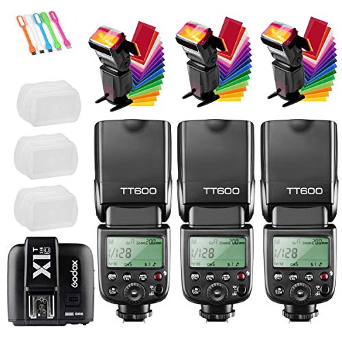 Godox 3X TT600 High Speed Sync 2.4G Wireless Camera Flash Speedlite with Godox X1T-C Remote Trigger Transmitter Compatible for Canon Cameras &3X Diffuer & CONXTRUE USB LED