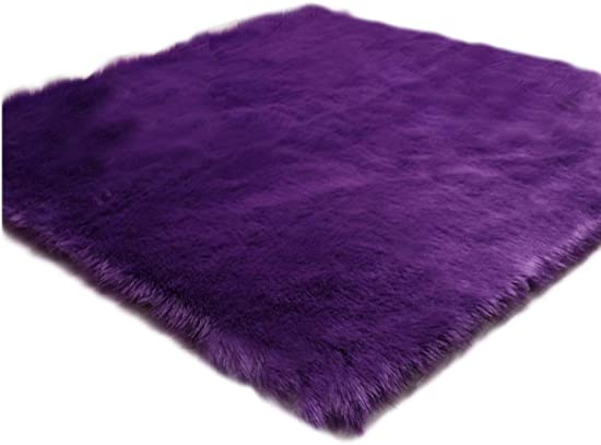 Elhouse Soft Faux Fur Sheepskin Home Decor Square Area Rug Shaggy Carpet Fluffy Floor Rugs for Baby Bedroom, 3.3ft x 3.3ft, Purple