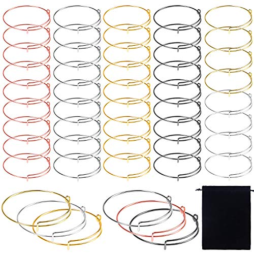 Ruisita 50 Pieces Expandable Bangle Adjustable Wire Bracelets Blank Bangle Bracelets with Storage Bag for DIY Jewelry Making Charms Bracelets (Mixed 6 Colors A) (Wire For Bangles)