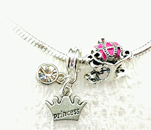 Princess Crystal Dangle Charm Princess Carriage Charm Bead Set for European Bracelet2 Carriage Dangle Bead