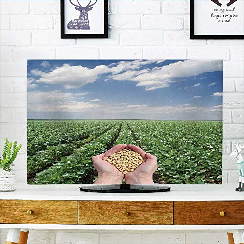 Philiphome Cover for Wall Mount tv Human h Soybean, with Field in Background Cover Mount tv W32 x H51 INCH/TV 55