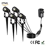 ProGreen 4 Packs LED Garden Lights with Plug & Spike, 12V 1080LM Outdoor Spotlight IP65 Waterproof Garden Landscape Decorative Lamp for Lawn Yard Path, 3000K Warm White